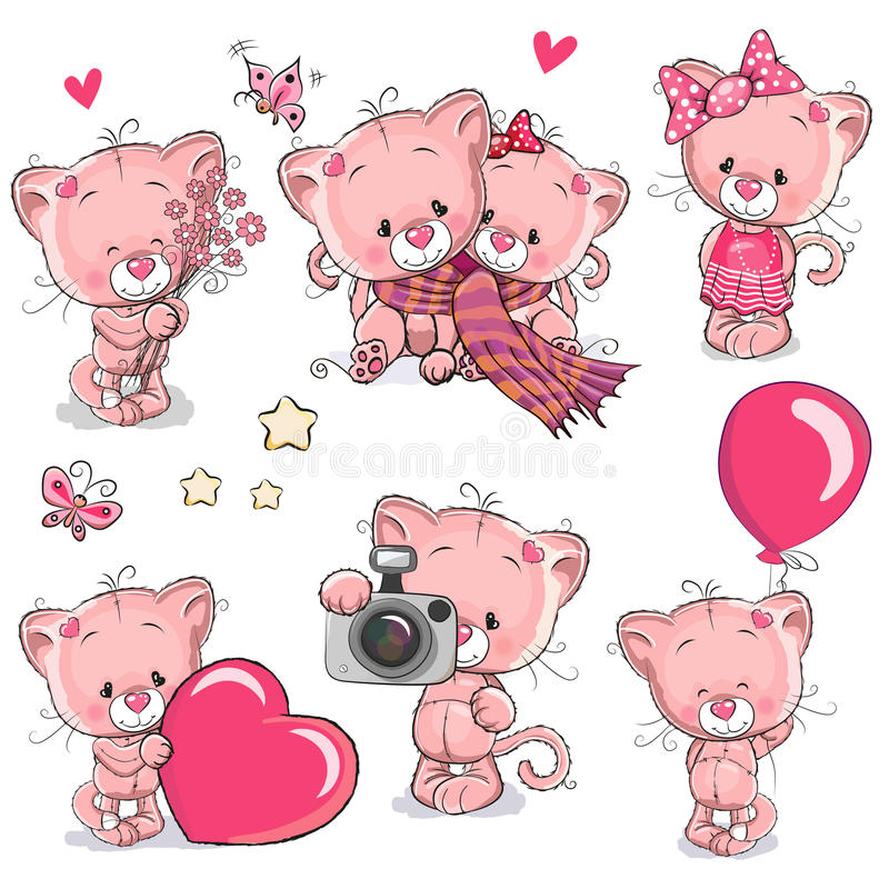 Free Set Of Cute Cartoon Kitten Stock Images - 79373104