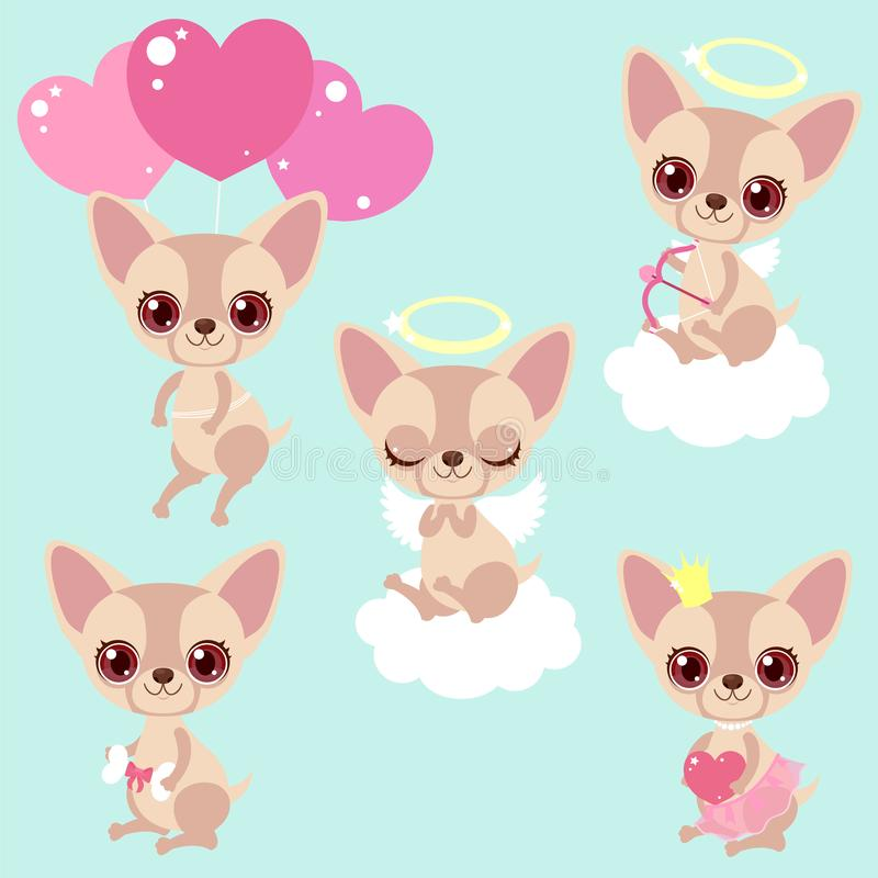 Free Set Of Cute Chihuahua Dogs For Congratulations For A Birthday Or Valentine`s Day. Romantic Stickers. Children`s Characters. Stock Photos - 134420593