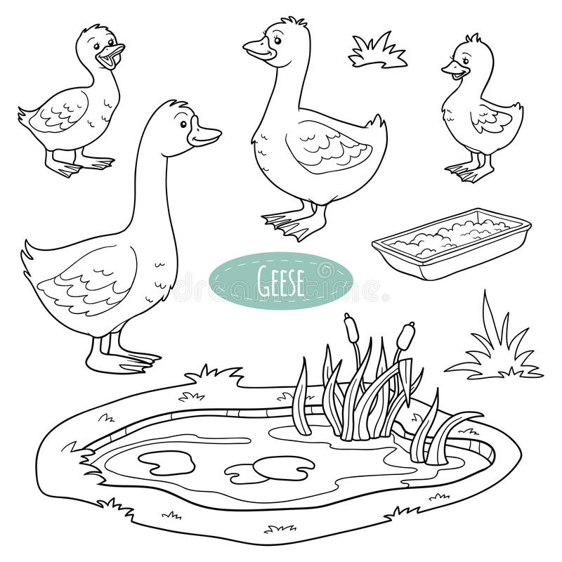 Free Set Of Cute Farm Animals And Objects, Vector Goose Family Royalty Free Stock Photos - 55061718