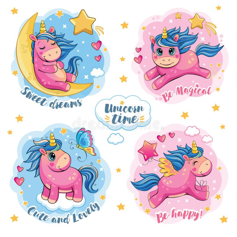 Free Set Of Cute Funny Unicorns. Cartoon And Fabulous Illustration With Beautiful Little Pony, Butterfly, Star, Moon And Heart. Sticker Stock Images - 192815814