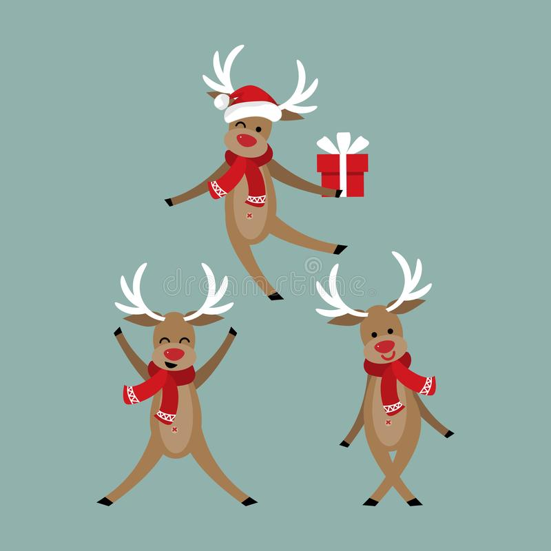 Free Set Of Cute Reindeer In Winter Custom With Santa Hat And Red Scarf. Stock Photography - 147832712
