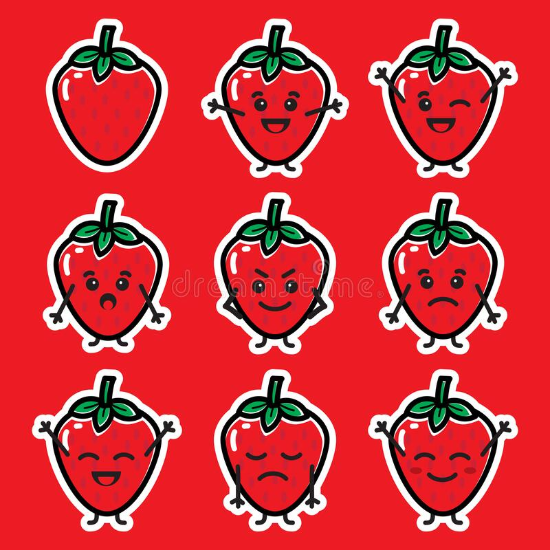 Free Set Of Cute Strawberry Mini Character Adorable Fruit Illustration Stock Photos - 182206863