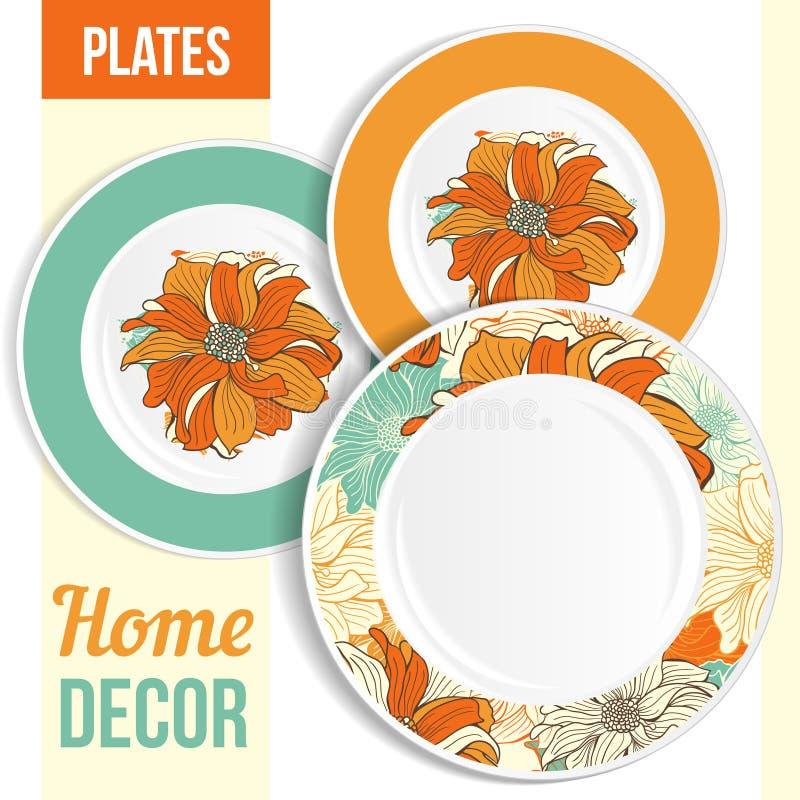Free Set Of Decorative Plates. Royalty Free Stock Photography - 44076307