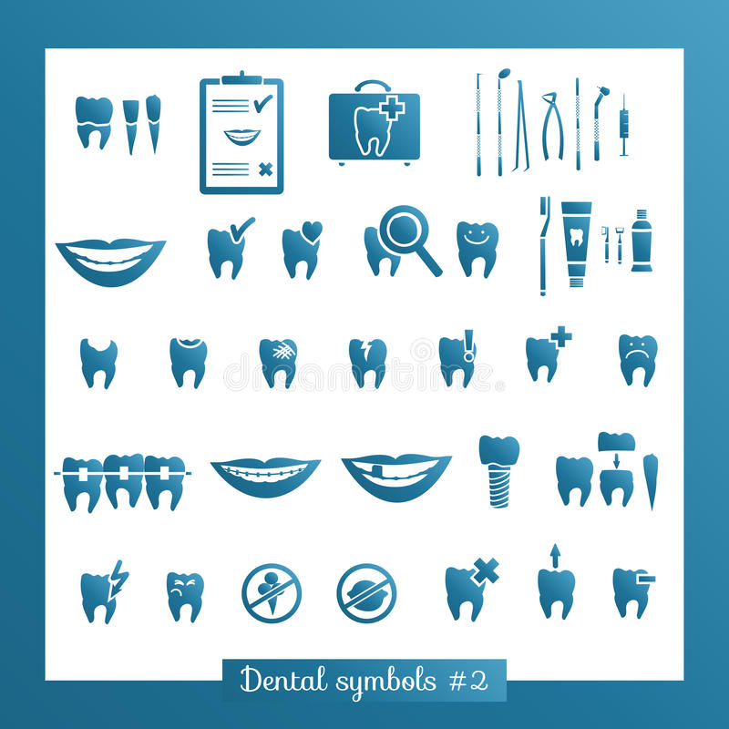 Free Set Of Dentistry Symbols, Part 2 Stock Photography - 44418212
