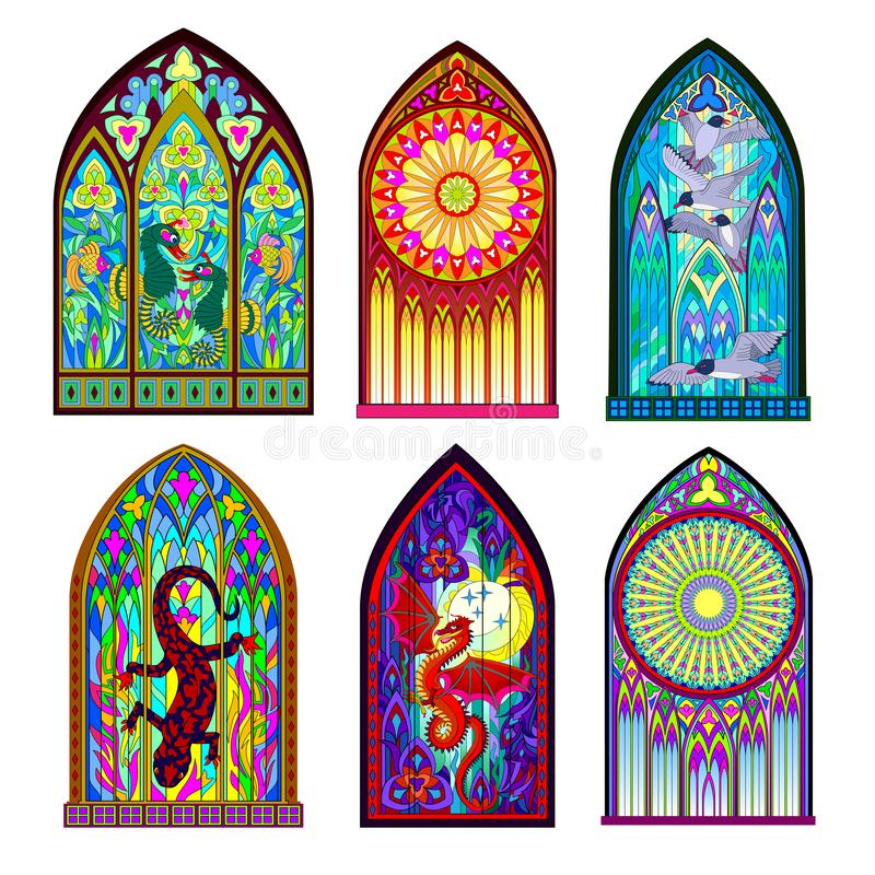 Free Set Of Different Beautiful Colorful Stained Glass Windows In Gothic Style. Middle Age Architecture In Western Europe. Royalty Free Stock Photography - 164132787