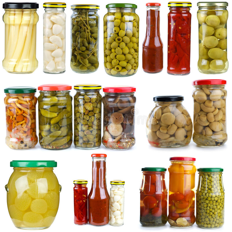 Free Set Of Different Fruits & Vegetablesin Glass Jars Stock Image - 10816271