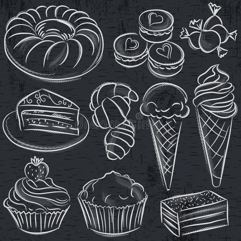 Free Set Of Different Sweetmeats On Blackboard Stock Photo - 50459490