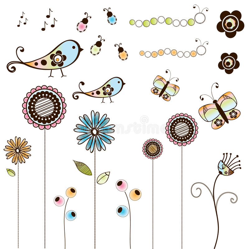Free Set Of Doodle Bugs And Flowers Royalty Free Stock Images - 9150999