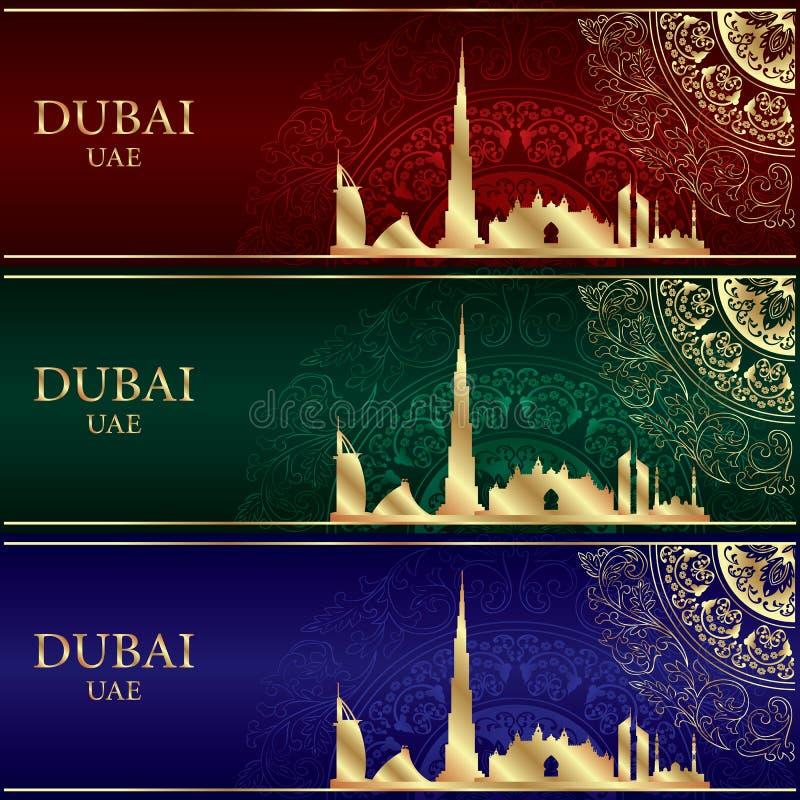 Free Set Of Dubai Skyline Silhouette On Vintage Backgrounds Stock Photos - 48514673