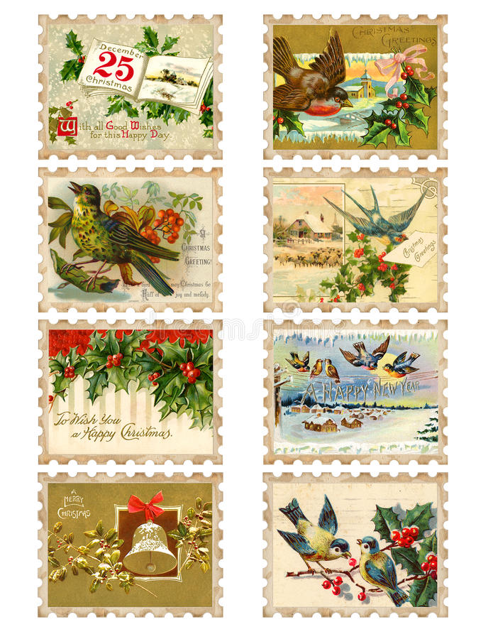 Free Set Of Eight Vintage Christmas Bird Holly Stamps Royalty Free Stock Photo - 17294935