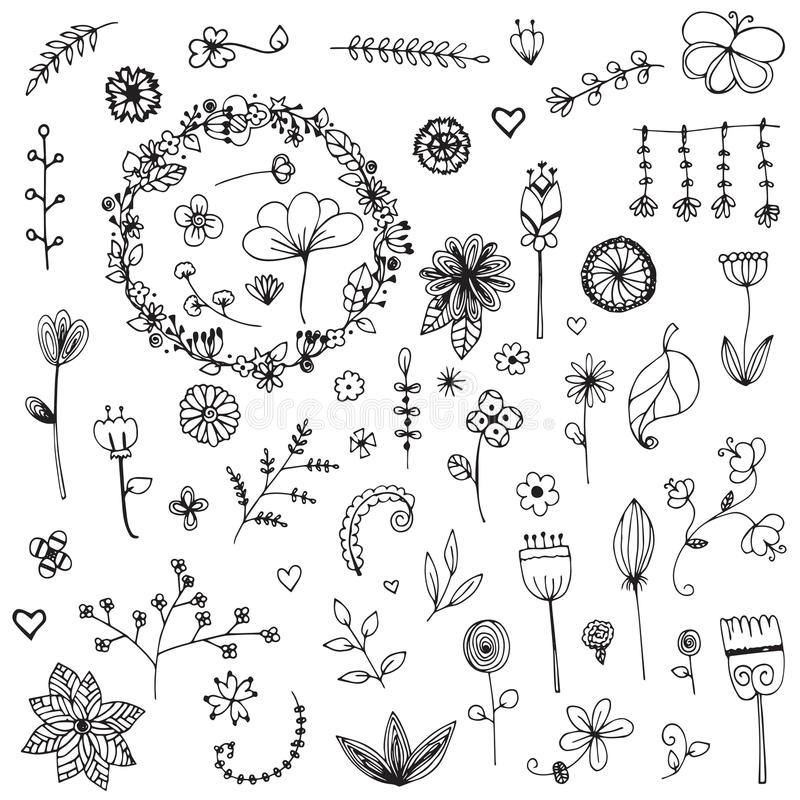 Free Set Of Elements Flower Doodle Hand Drawn Sketch In Black Line On White Stock Photo - 95837980