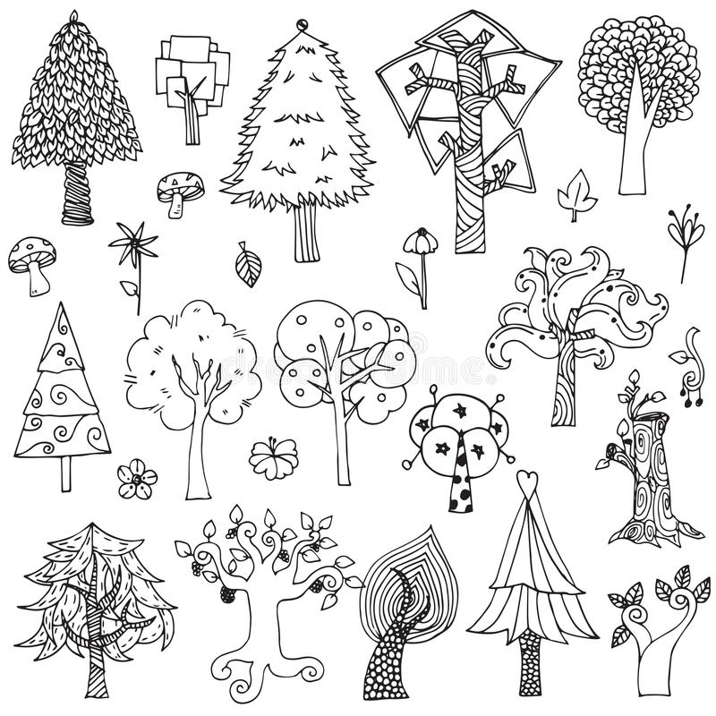 Free Set Of Elements Trees And Flower Doodle Hand Drawn Sketch In Black Line On White Isolated Stock Image - 95838021