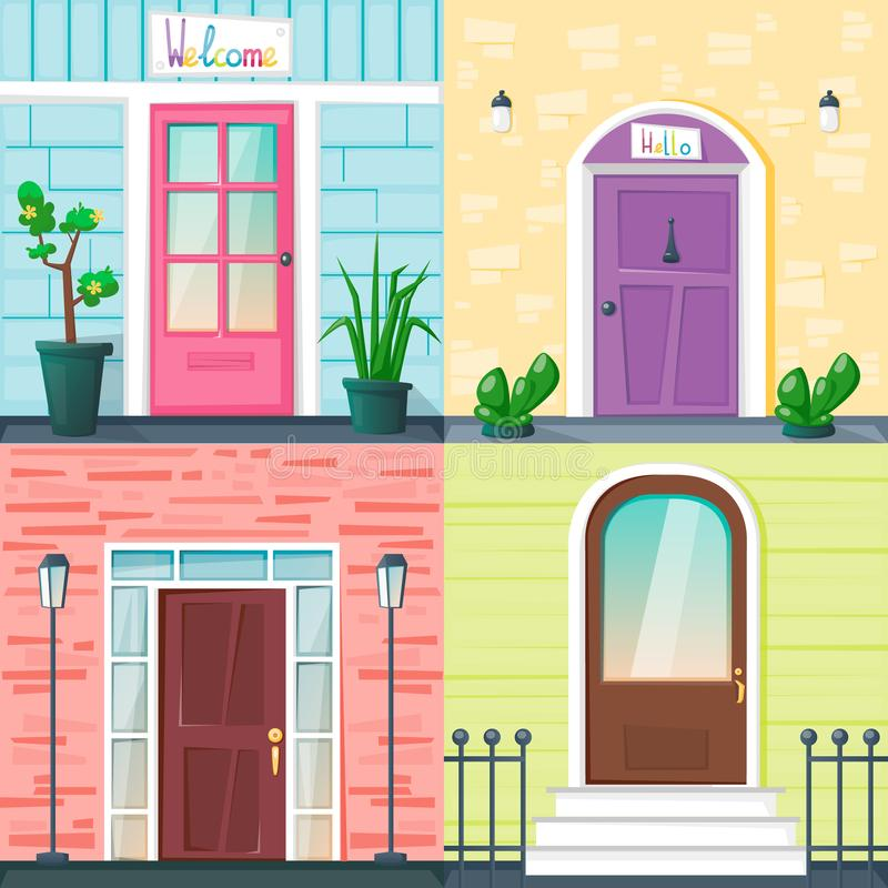 Free Set Of Entrance Doors On The Different Wall Backgrounds With Lanterns, Fence And Plants In Pots. Bright Vector Stock Photos - 149181013
