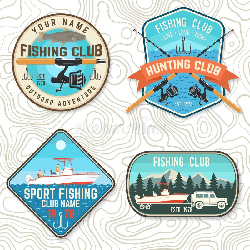Free Set Of Fishing Club Patch. Live, Love, Fish. Vector. Concept For Shirt Or Logo, Print, Stamp, Tee, Patch. Vintage Stock Photography - 172064272