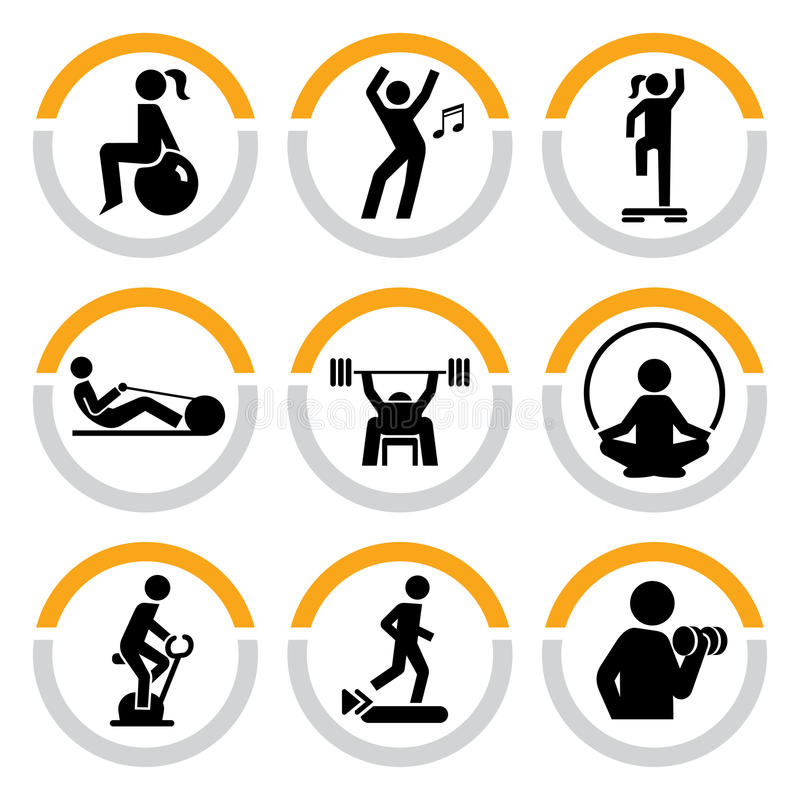 Free Set Of Fitness Pictograms In Semicircles Stock Photo - 23018260