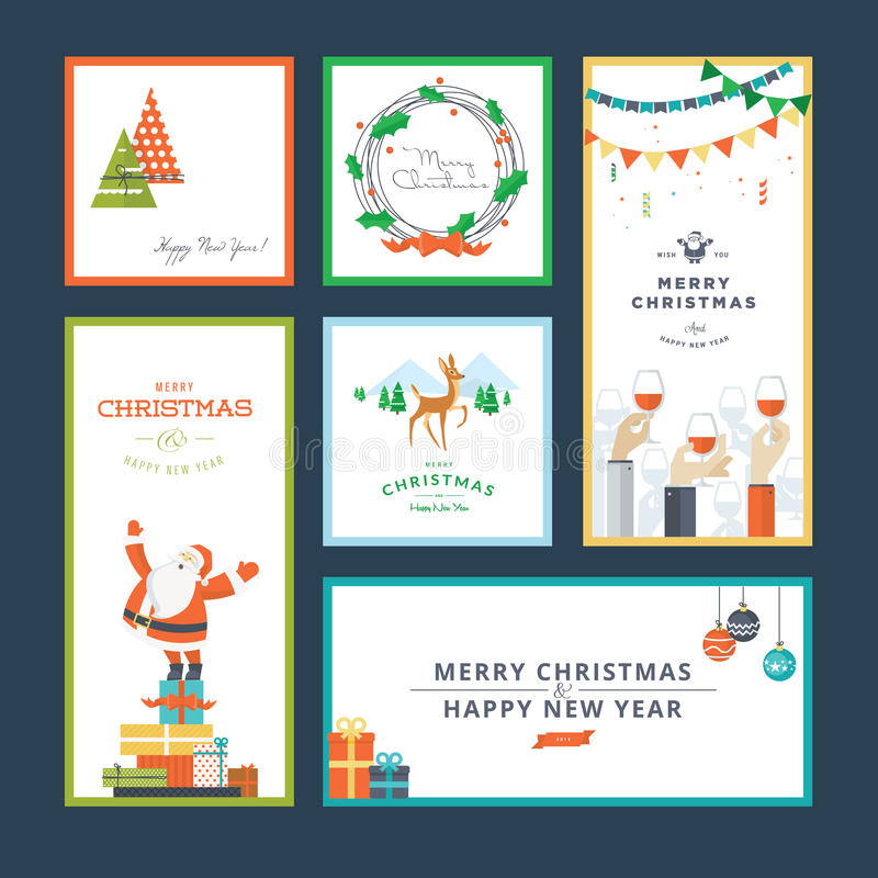 Free Set Of Flat Design Christmas And New Year Greeting Card Templates Stock Image - 46092521