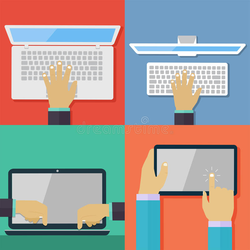 Free Set Of Flat Hand Icons Holding Various Hi-tech Computer Royalty Free Stock Images - 43539029