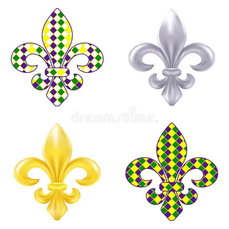 Free Set Of Fleur De Lis Mardi Gras Illustration Stock Image - 53754911