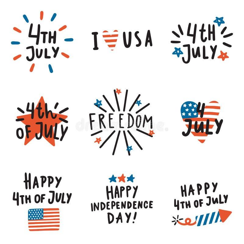 Free Set Of Fourth July Badges. Royalty Free Stock Image - 94421866