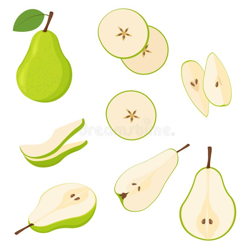 Free Set Of Fresh Whole And Cut Pear And Slices Isolated On White Background. Stock Photography - 127371812
