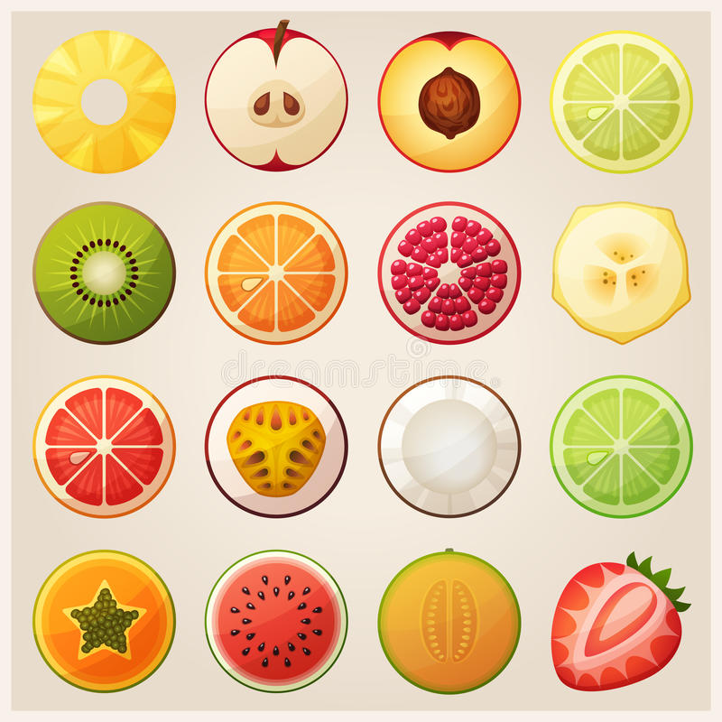 Free Set Of Fruit Halves. Vector Icons. Royalty Free Stock Image - 66733416
