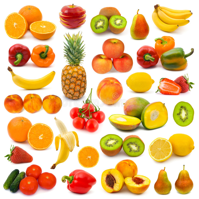 Free Set Of Fruits And Vegetables Royalty Free Stock Photos - 7696998