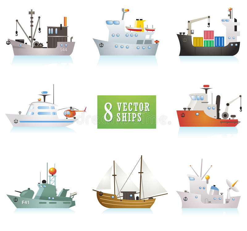 Free Set Of Funny Vector Ships In Cartoon Style Stock Image - 48039251