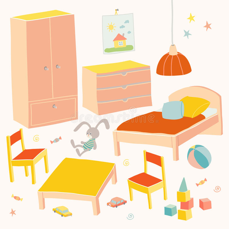 Free Set Of Furniture For Children Room. Kids Small Furniture.Bed, Table With Children`s Chairs, Wardrobe And Chest. Hand Stock Photography - 94467562