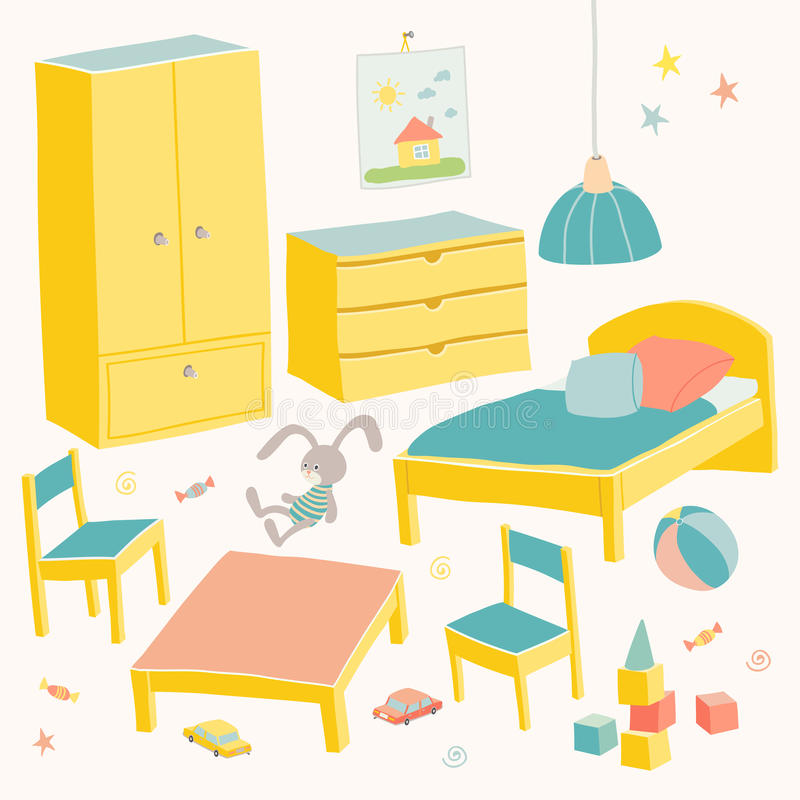 Free Set Of Furniture For Children Room. Kids Small Furniture.Bed, Table With Children`s Chairs, Wardrobe And Chest. Hand Royalty Free Stock Image - 94467626
