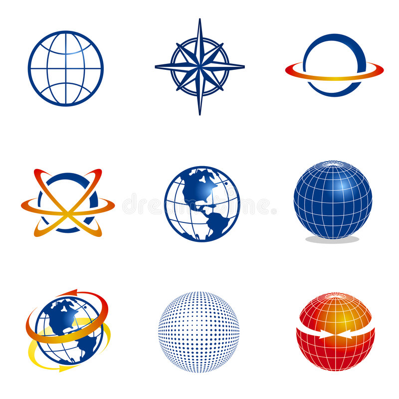 Free Set Of Globe/navigation Icons Royalty Free Stock Photography - 7635547