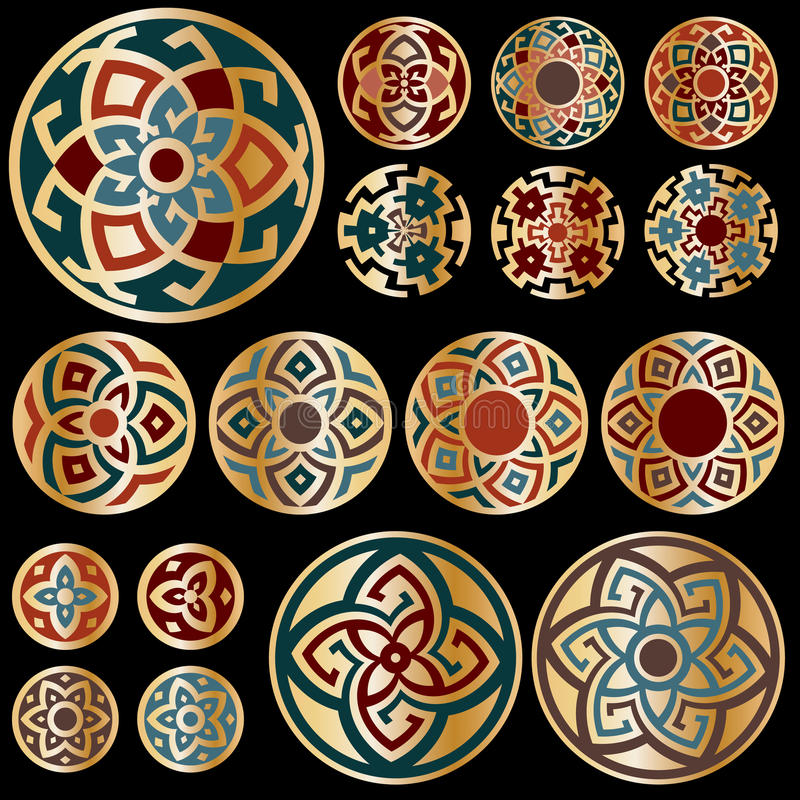 Free Set Of Gold Colorful Round Geometric Designs Stock Photo - 32770450