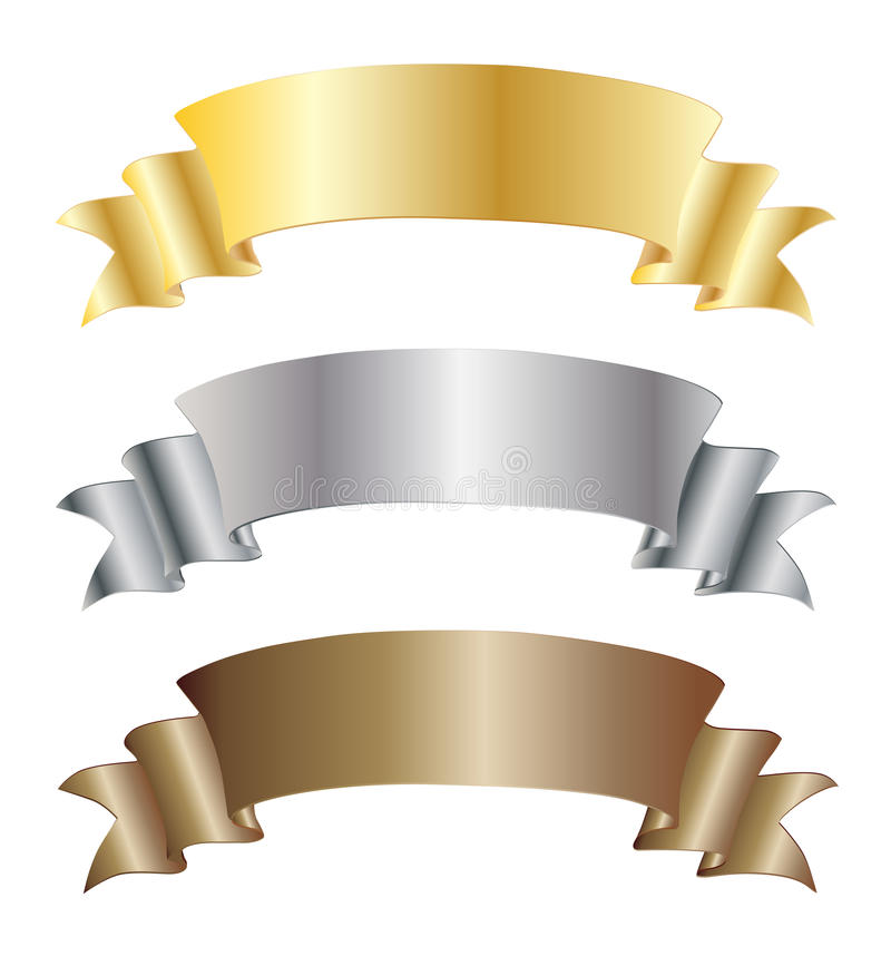 Free Set Of Gold Silver And Bronze Ribbons Royalty Free Stock Image - 35378406