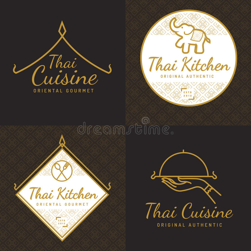 Free Set Of Golden Color Thai Food Logo, Badges, Banners, Emblem For Asian Food Restaurant With Thai Pattern. Royalty Free Stock Photos - 76271508