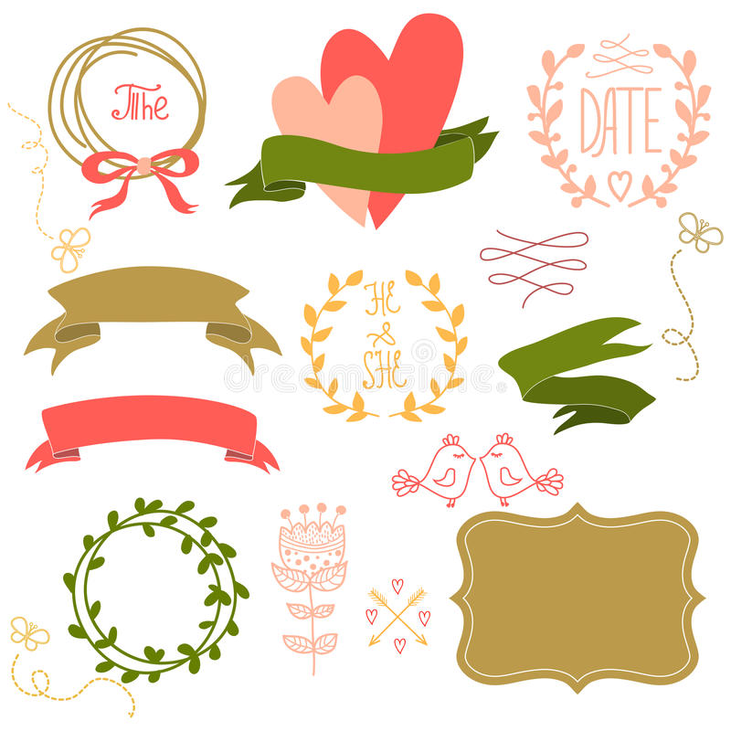Free Set Of Graphic Elements For A Wedding. Royalty Free Stock Photos - 36847398
