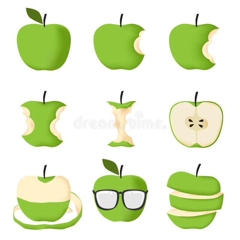 Free Set Of Green Apple Royalty Free Stock Images - 56014579