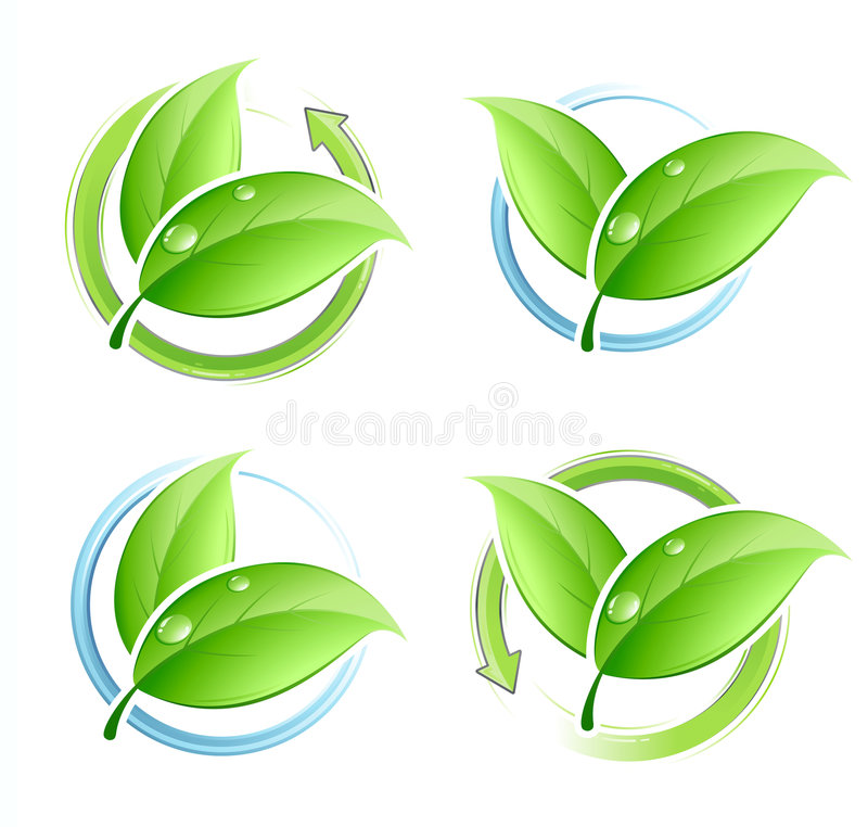 Free Set Of Green Leaves Royalty Free Stock Image - 7407996