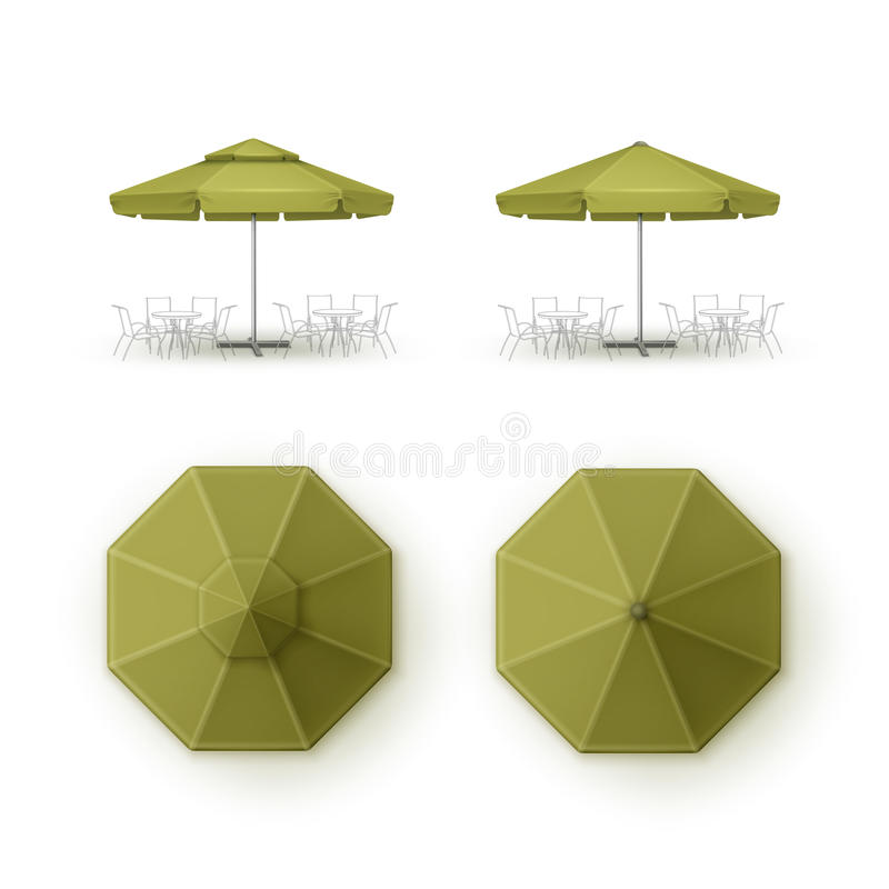 Free Set Of Green Patio Outdoor Beach Cafe Restaurant Round Umbrella Royalty Free Stock Images - 77605609
