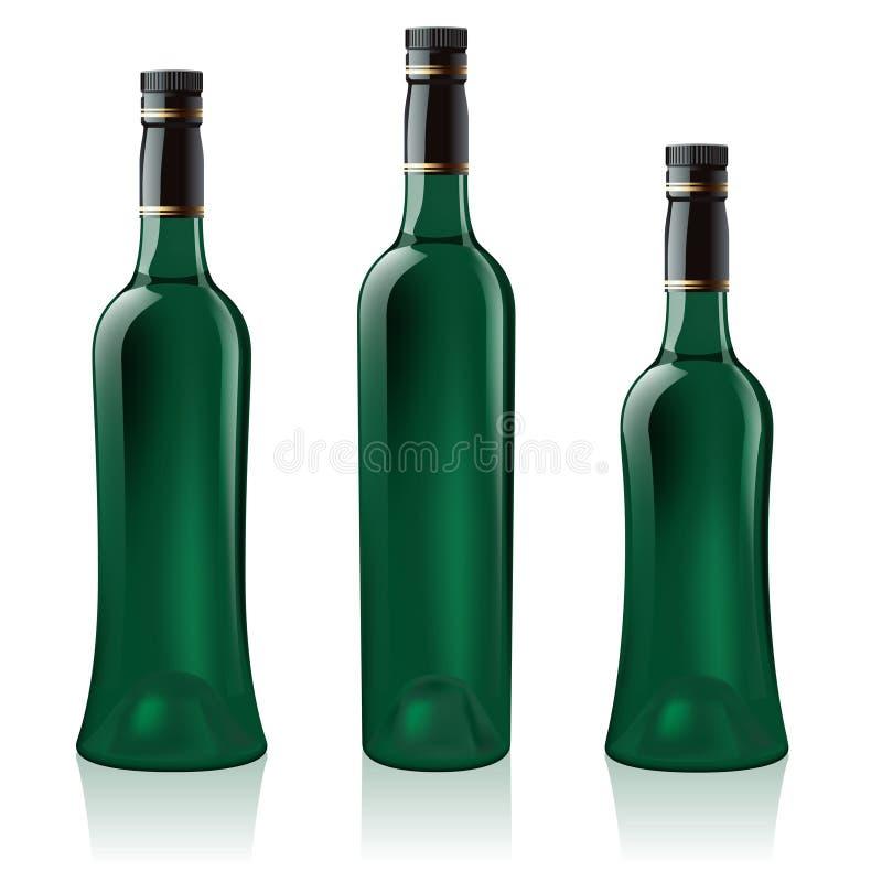 Free Set Of Green Wine Bottle Royalty Free Stock Photos - 19175918