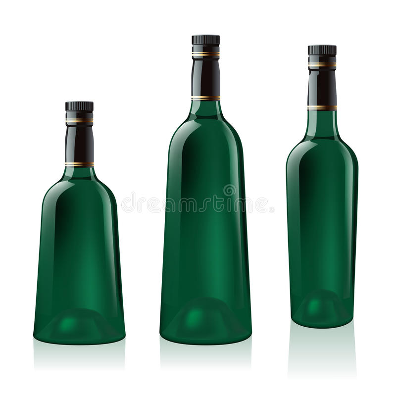 Free Set Of Green Wine Bottle Royalty Free Stock Images - 19175959
