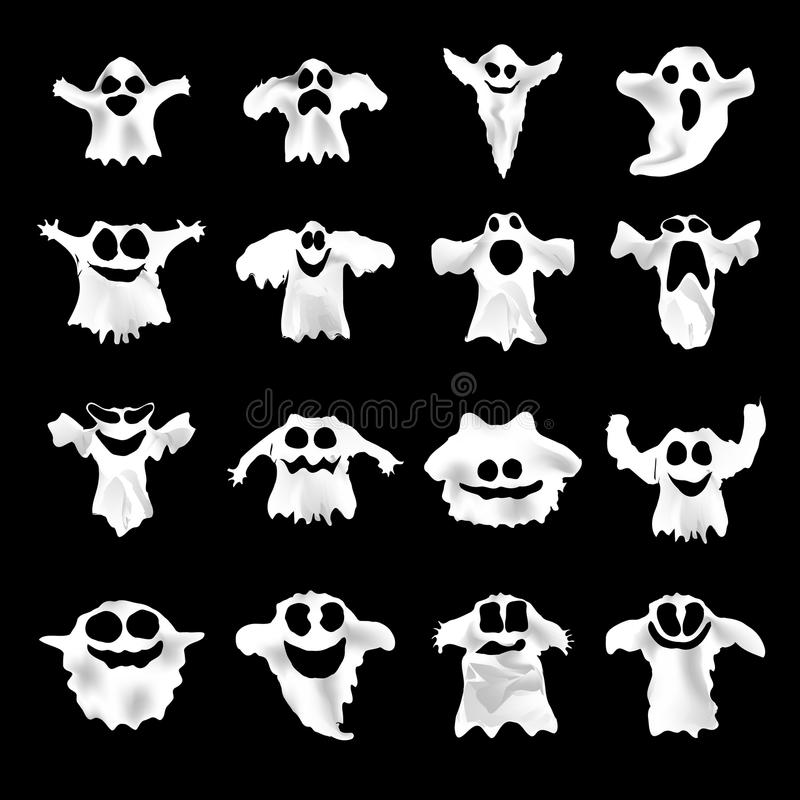 Free Set Of Halloween White Ghosts With Different Stock Image - 59754301