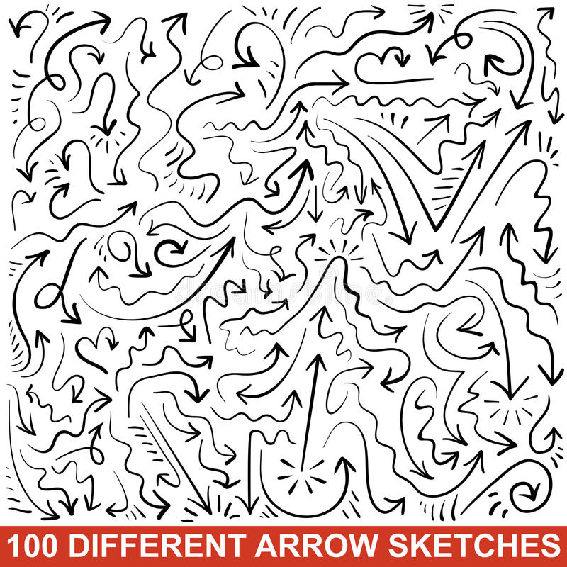 Free Set Of Hand Drawn Arrow Sketches. Black Graphic Royalty Free Stock Photos - 32498908