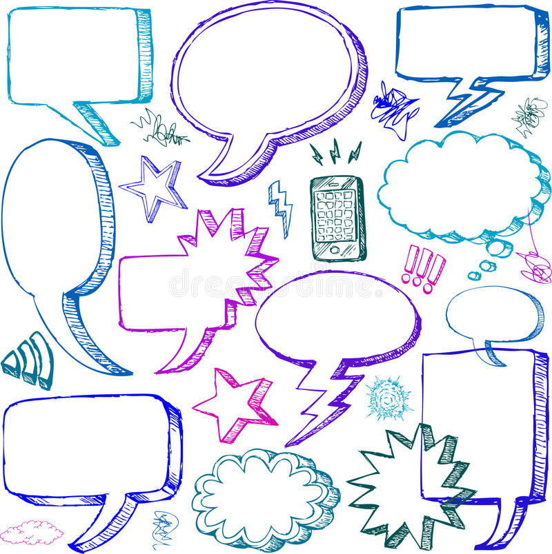 Free Set Of Hand Drawn Comical Speech Bubbles Royalty Free Stock Image - 26184436