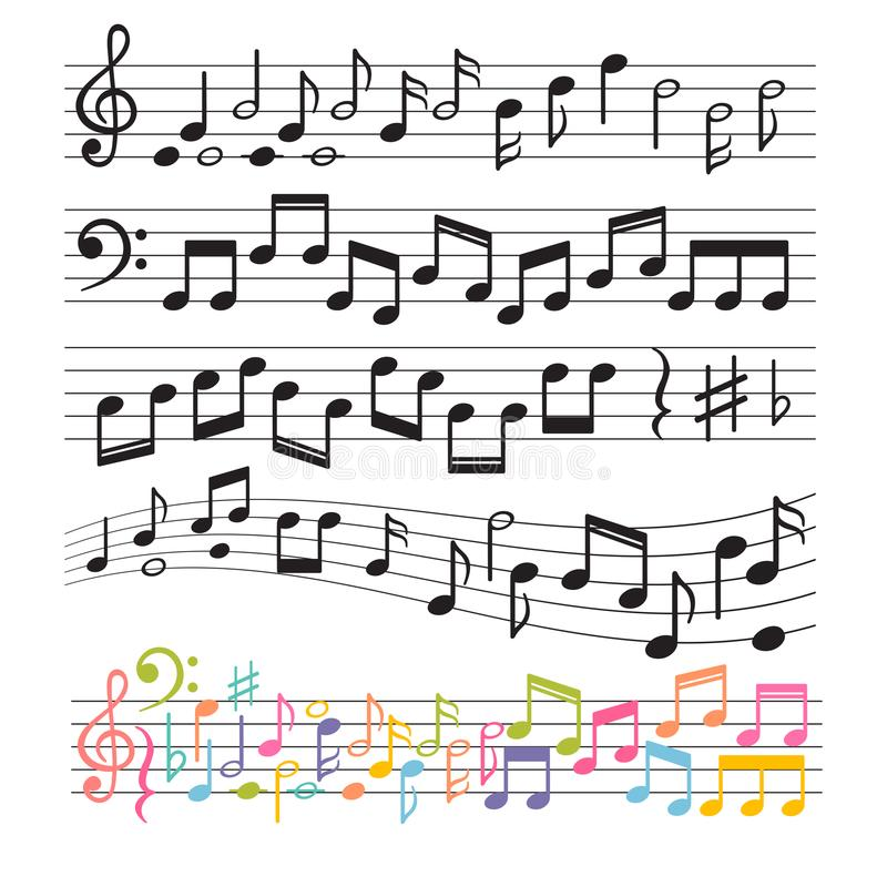 Free Set Of Hand Drawn Music Notes. Music Design Elements. Key Sign Collection. Melody Symbols Royalty Free Stock Photo - 108950805