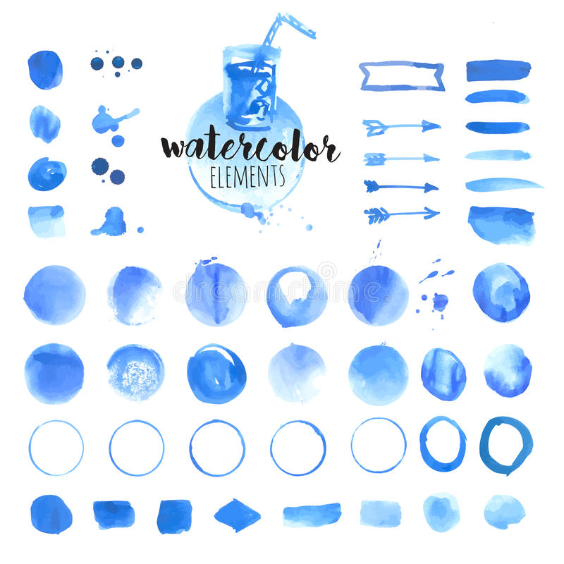 Free Set Of Hand Drawn Watercolor Elements, Brushes, Splash, Frames, Stains, Ribbons, Pattern And Background Royalty Free Stock Images - 72614799