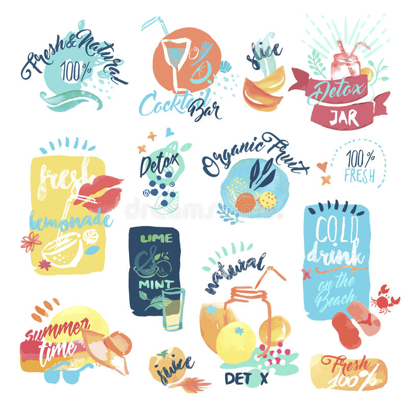 Free Set Of Hand Drawn Watercolor Labels And Stickers Of Seafood Royalty Free Stock Images - 70752929