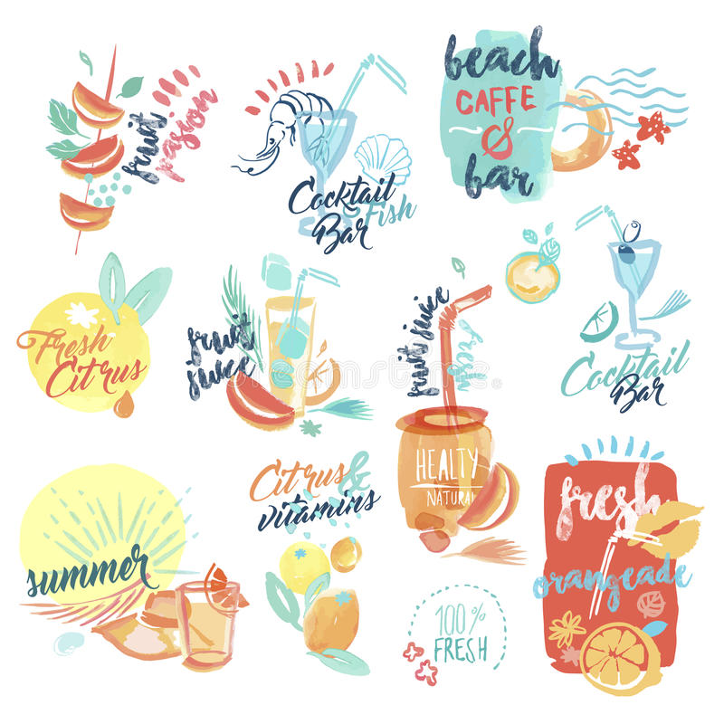 Free Set Of Hand Drawn Watercolor Signs And Labels Of Seafood Royalty Free Stock Photo - 70752935