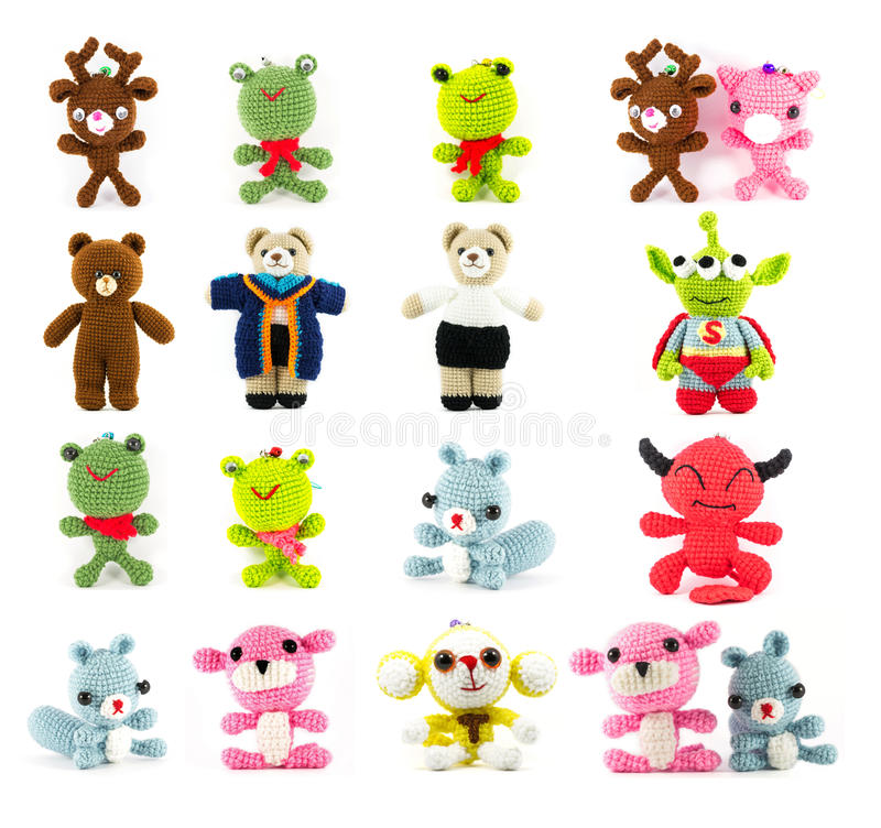 Free Set Of Handmade Crochet Doll 16 Picture Royalty Free Stock Images - 40702509