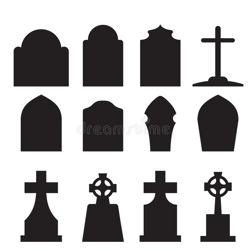 Free Set Of Headstone And Tombstone Silhouette Stock Photos - 58723353