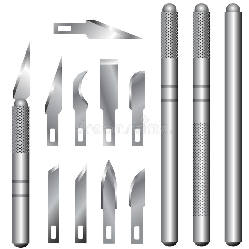 Free Set Of Hobby Knife Handles And Blades Royalty Free Stock Photography - 8402587