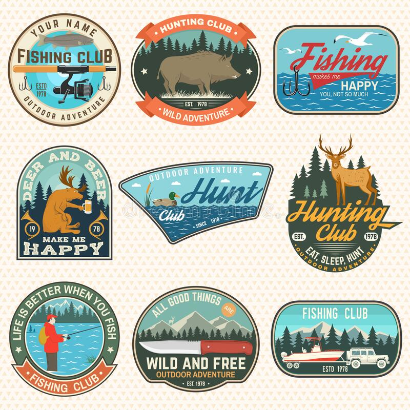 Free Set Of Hunting And Fishing Club Patches. Vector. Concept For Shirt, Logo, Stamp, Patch. Vintage Design With Fisherman Royalty Free Stock Photography - 172064287